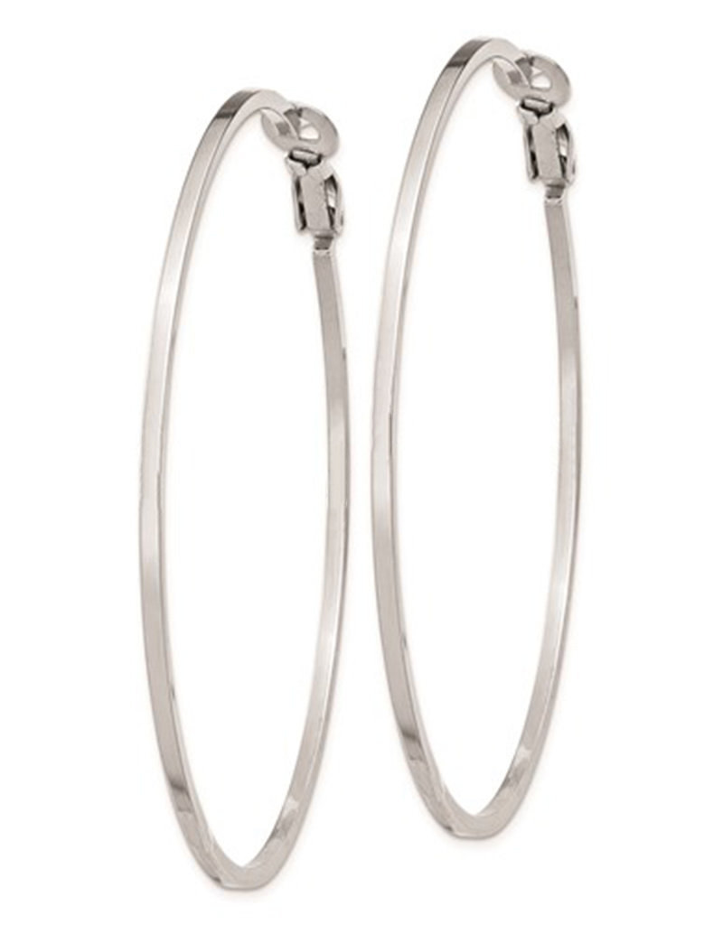 Sterling Silver 62mm Omega Clip Back Hoop Earrings