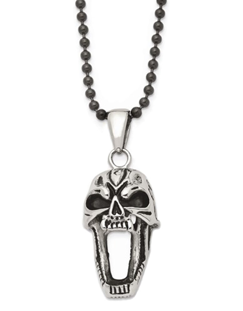 Men's Antiqued Stainless Steel Screaming Skull Necklace 22""