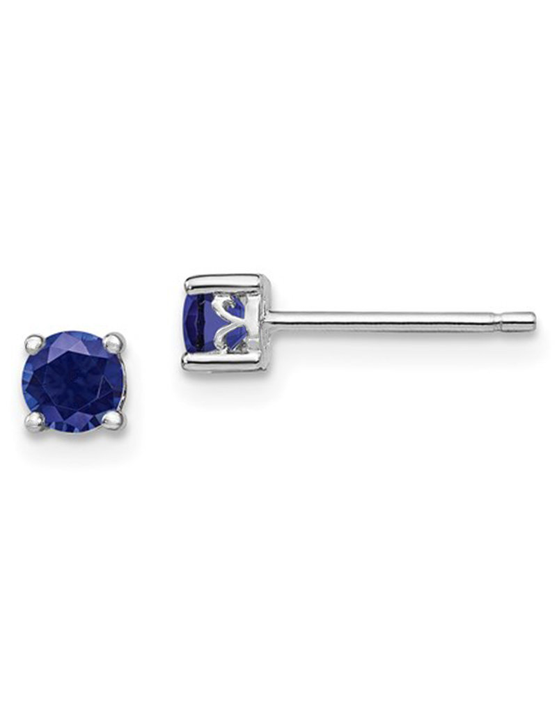 Sterling Silver 4mm Round Sapphire (Lab) Stud Earrings