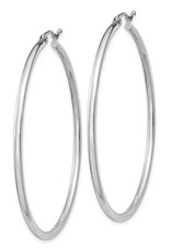 Sterling Silver 2mm Wide Hoop Earrings 50mm