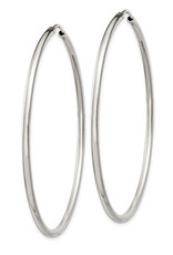 Sterling Silver 2mm Wide Endless Hoop Earrings 55mm