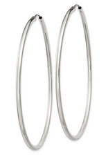 Sterling Silver 2mm Wide Endless Hoop Earrings 60mm