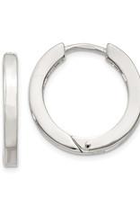 Sterling Silver 2.5mm Wide Hinged Hoop Earrings 21mm