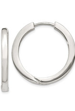 Sterling Silver 2.5mm Wide Hinged Hoop Earrings 25mm