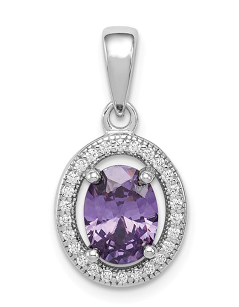 Oval Purple CZ Necklace 18""