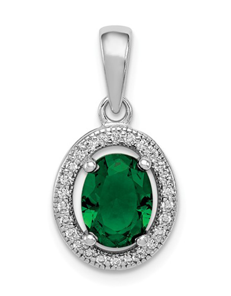 Oval Green CZ Necklace 18""