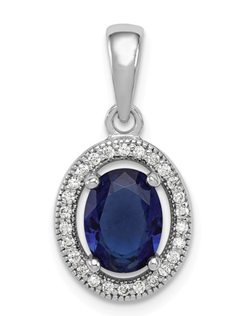 """Oval Dk. Blue CZ Necklace 18"""""""