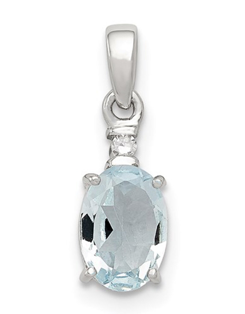 Sterling Silver Oval Aquamarine and Diamond Necklace 18""