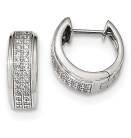 Pave CZ Huggie Earrings 14mm