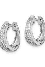 Sterling Silver Crossover CZ Huggie Earrings 17mm