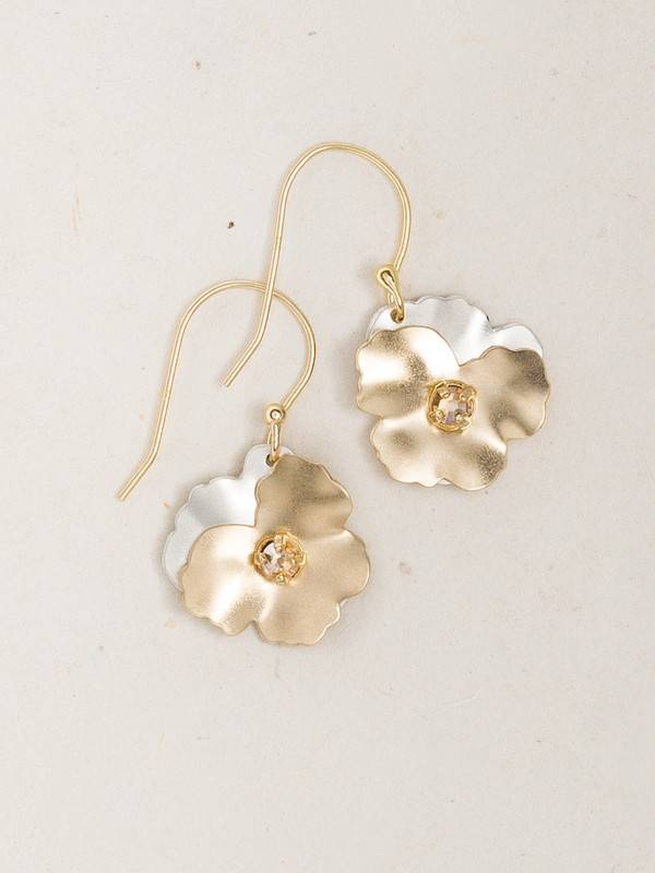 HOLLY YASHI Gold Silver Pansy Drop Earrings *17810