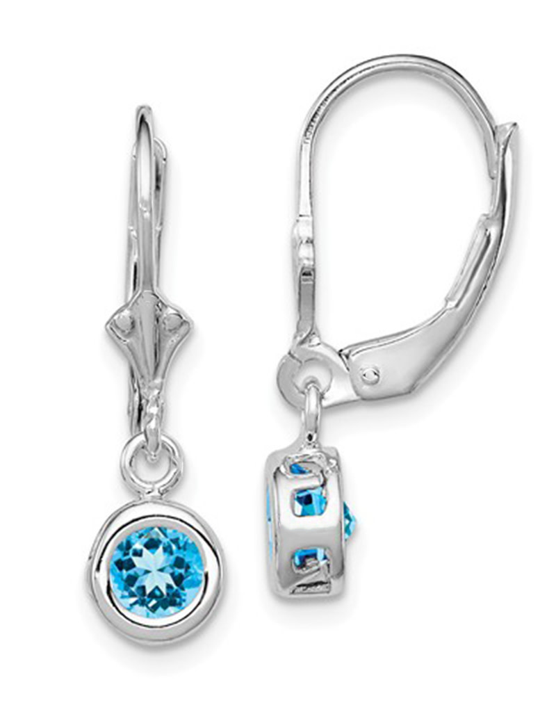 6mm Round Blue Topaz Leverback Earrings