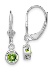 Sterling Silver 6mm Round Peridot Leverback Earrings