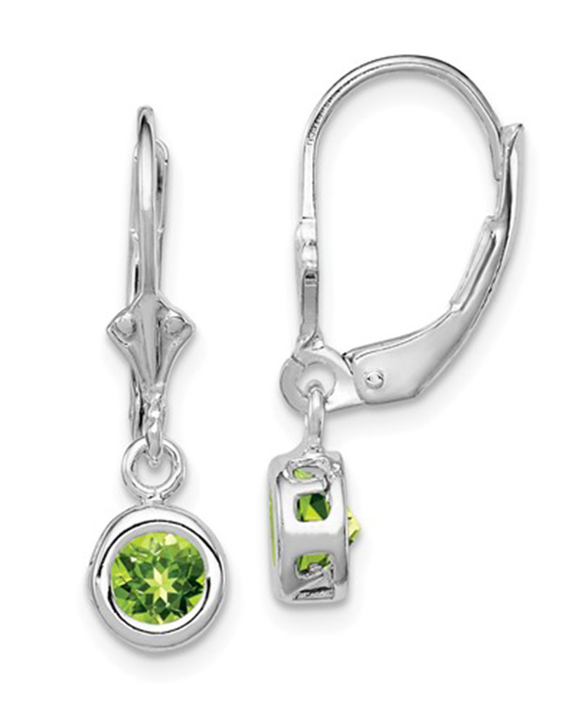 6mm Round Peridot Leverback Earrings
