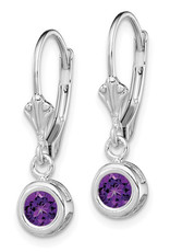 Sterling Silver 6mm Round Amethyst Leverback Earrings