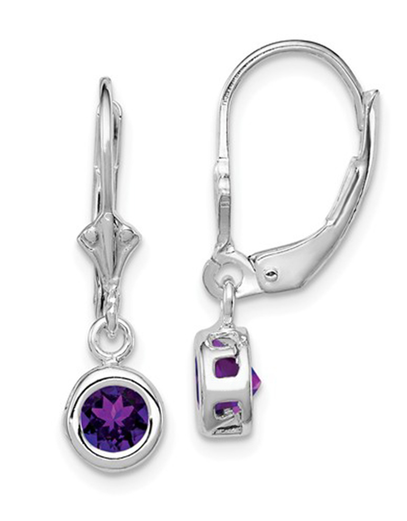 6mm Round Amethyst Leverback Earrings