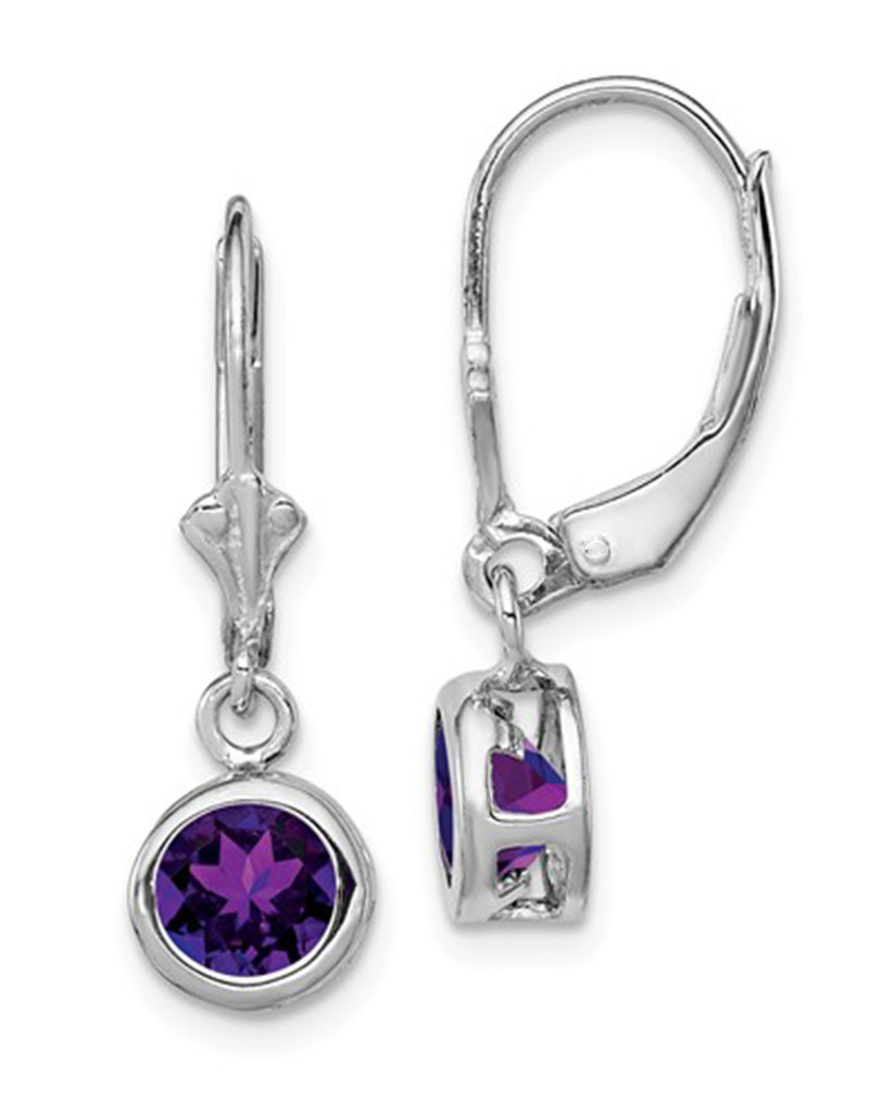 Sterling Silver 7mm Round Amethyst Leverback Earrings