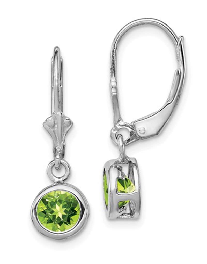 7mm Round Peridot Leverback Earrings