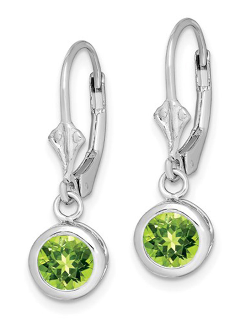 Sterling Silver 7mm Round Peridot Leverback Earrings