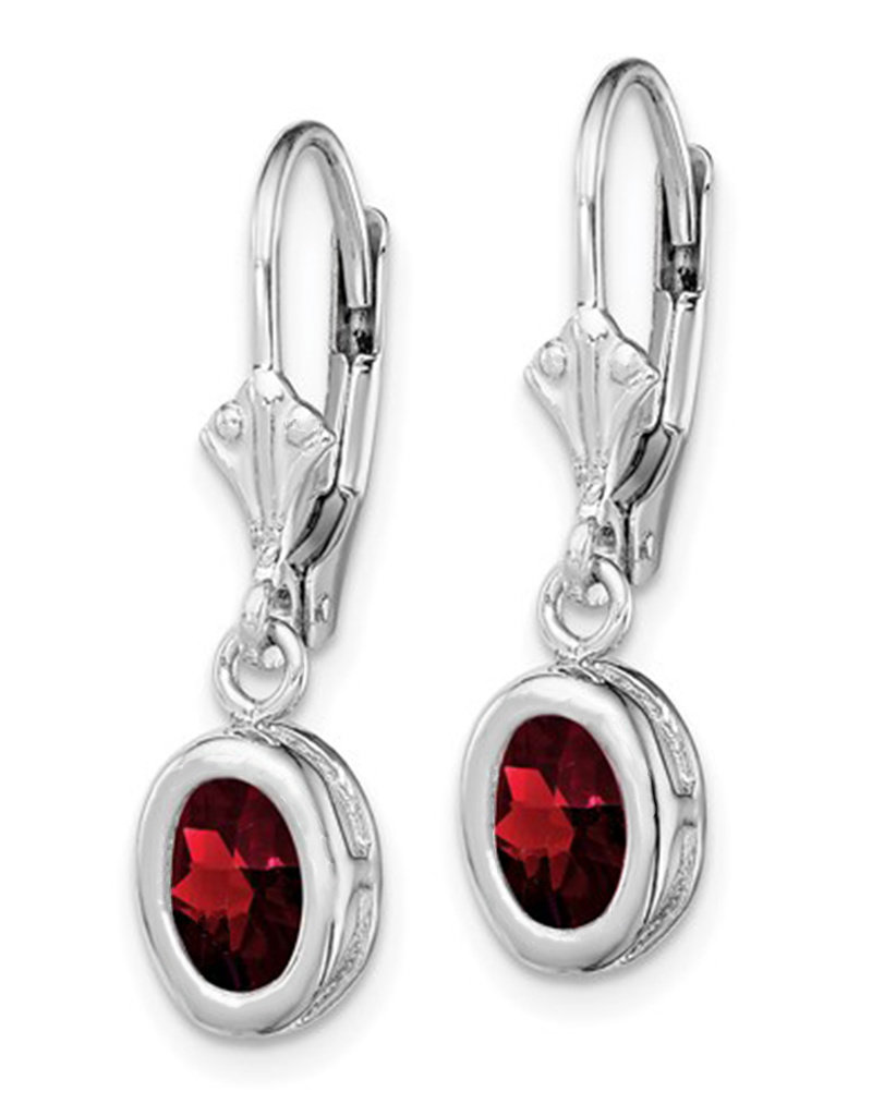Sterling Silver 7x5mm Oval Garnet Leverback Earrings