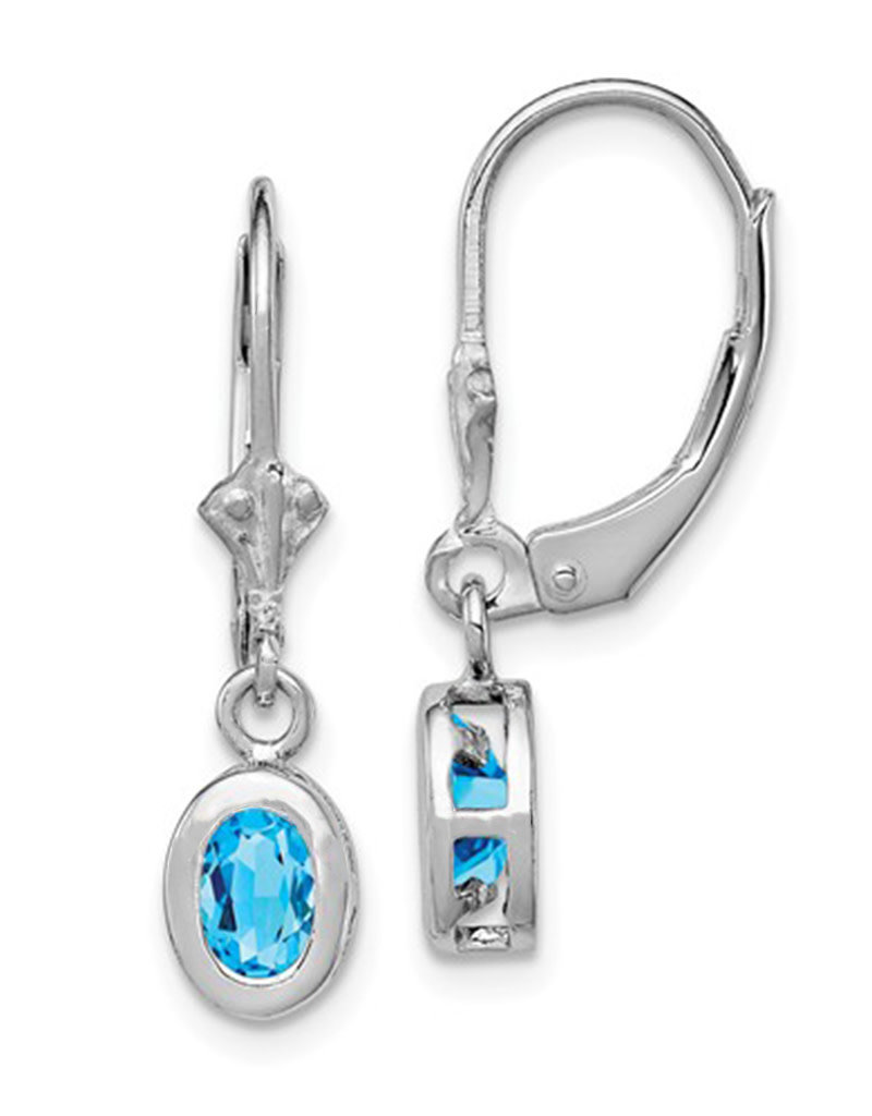 Sterling Silver 6x4mm Oval Blue Topaz Leverback Earrings