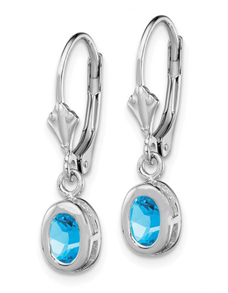 Sterling Silver 6x4mm Oval Blue Topaz Leverback Earrings