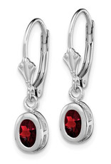 Sterling Silver 6x4mm Oval Garnet Leverback Earrings