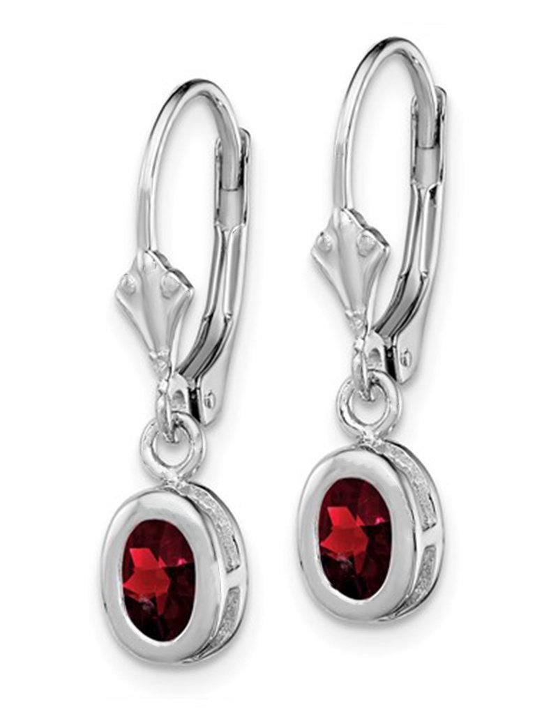 Sterling Silver 6x4mm Oval Garnet Leverback Earrings