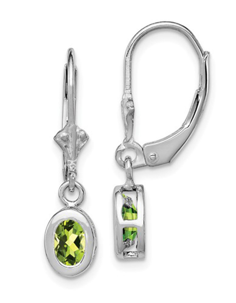 Sterling Silver 6x4mm Oval Peridot Leverback Earrings