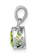 Sterling Silver 7mm Round Peridot Necklace 18""
