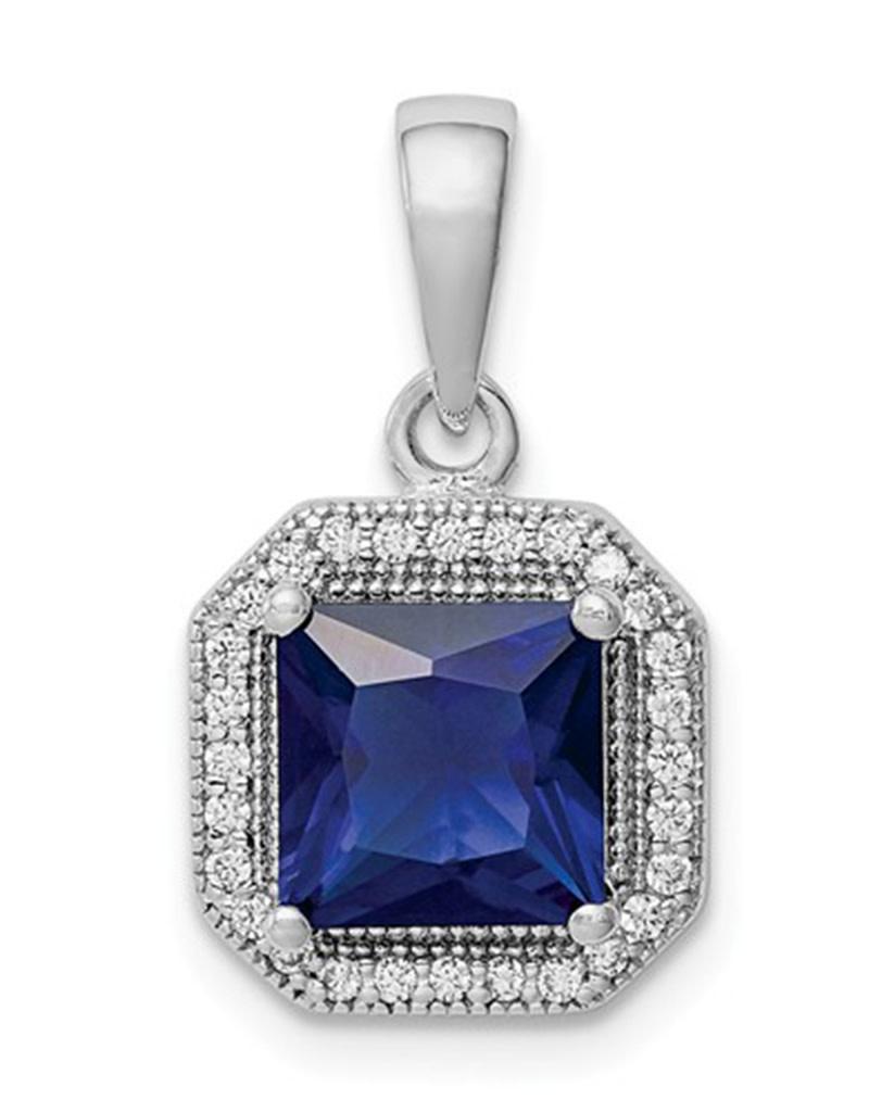 Square Dk. Blue CZ Necklace
