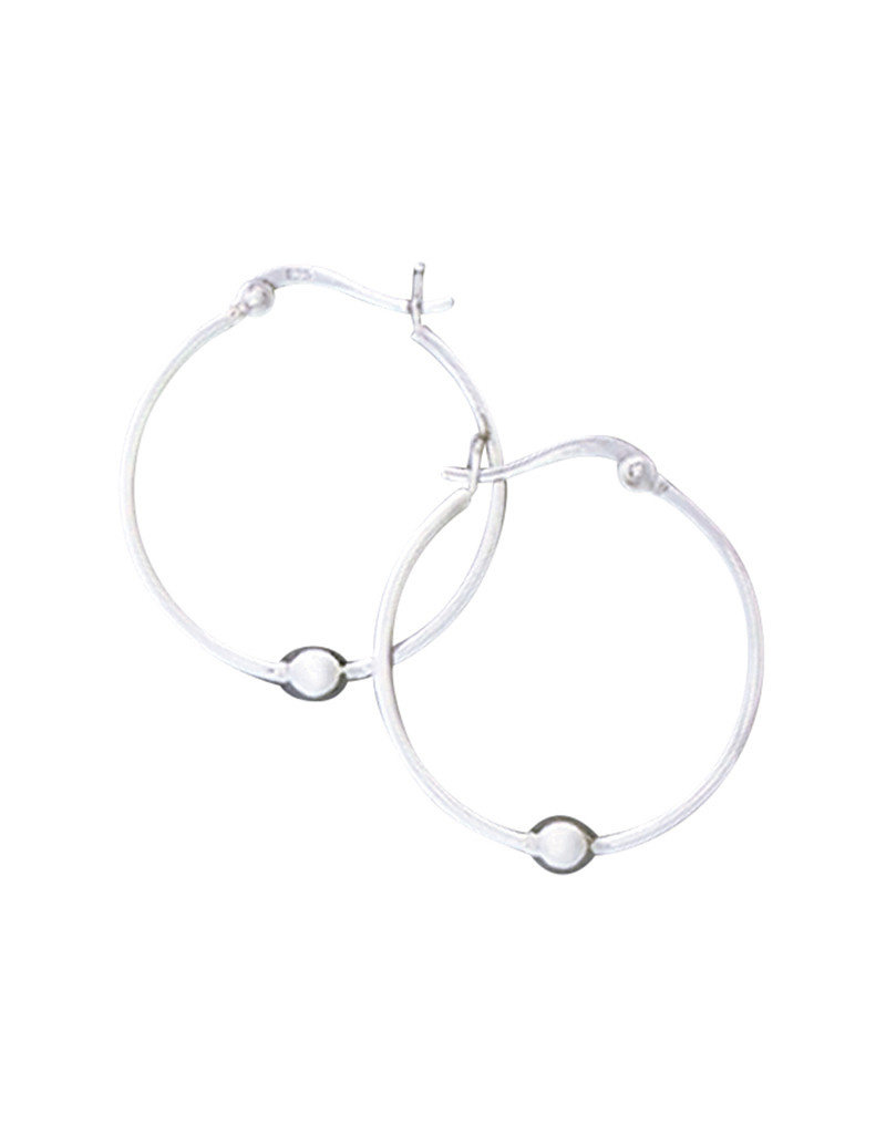 Sterling Silver Bead Hoop Earrings 20mm