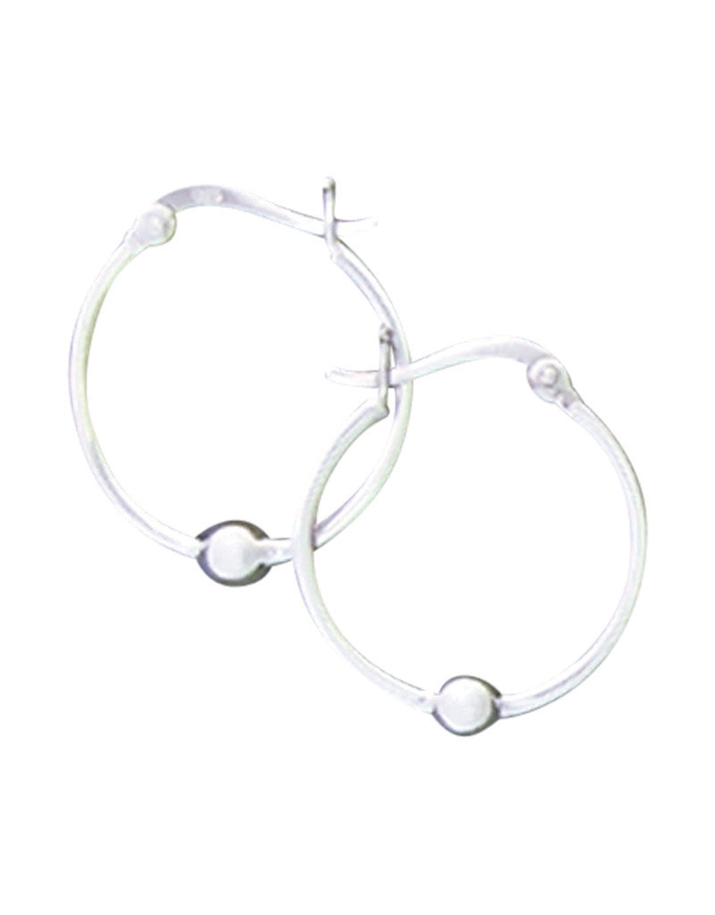 Sterling Silver Bead Hoop Earrings 25mm
