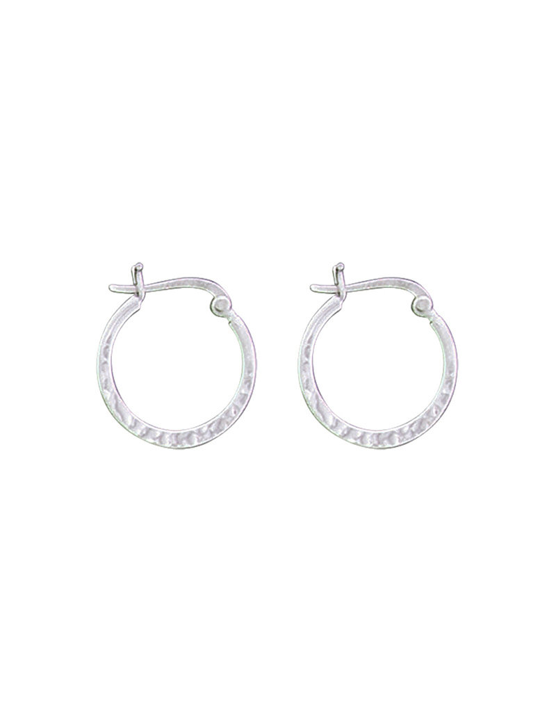 Sterling Silver Hammered Hoop Earrings 19mm