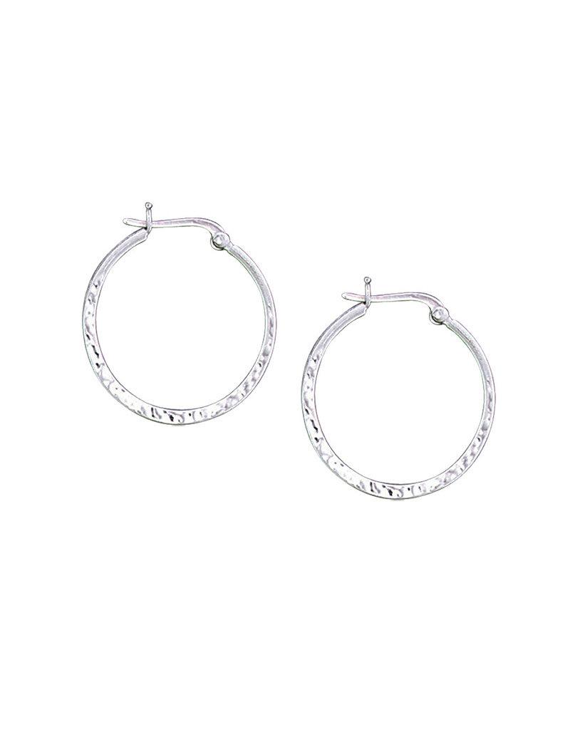 Sterling Silver Hammered Hoop Earrings 28mm