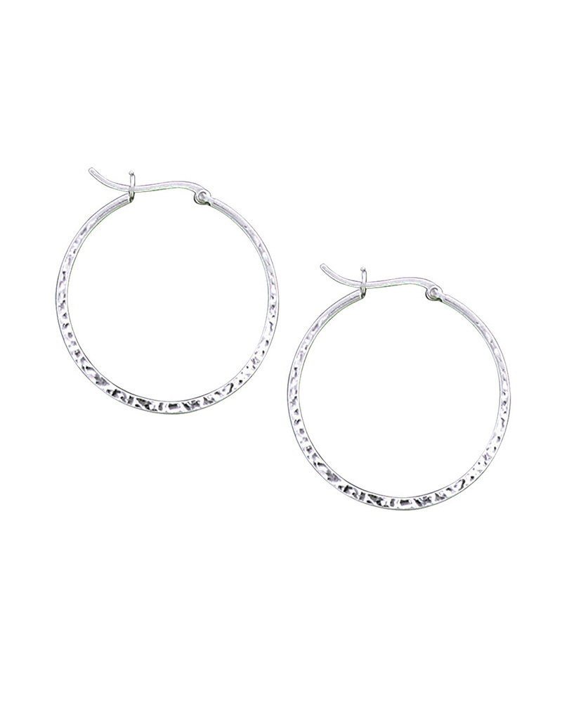 Sterling Silver Hammered Hoop Earrings 36mm