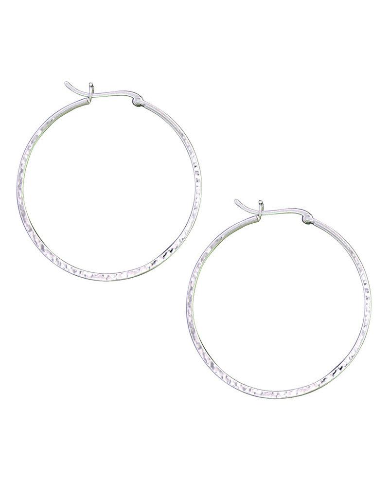 Sterling Silver Hammered Hoop Earrings 48mm