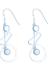 Sterling Silver Twist with Bead Dangle Earrings