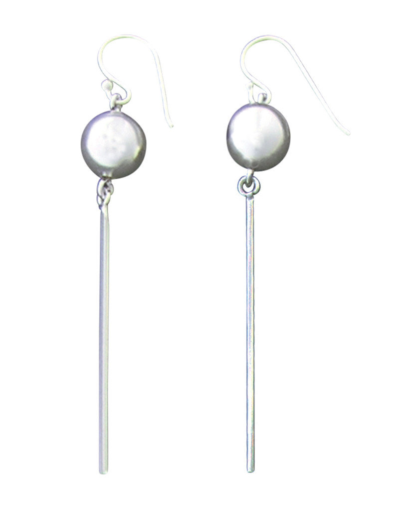 Sterling Silver Bead and Bar Dangle Earrings