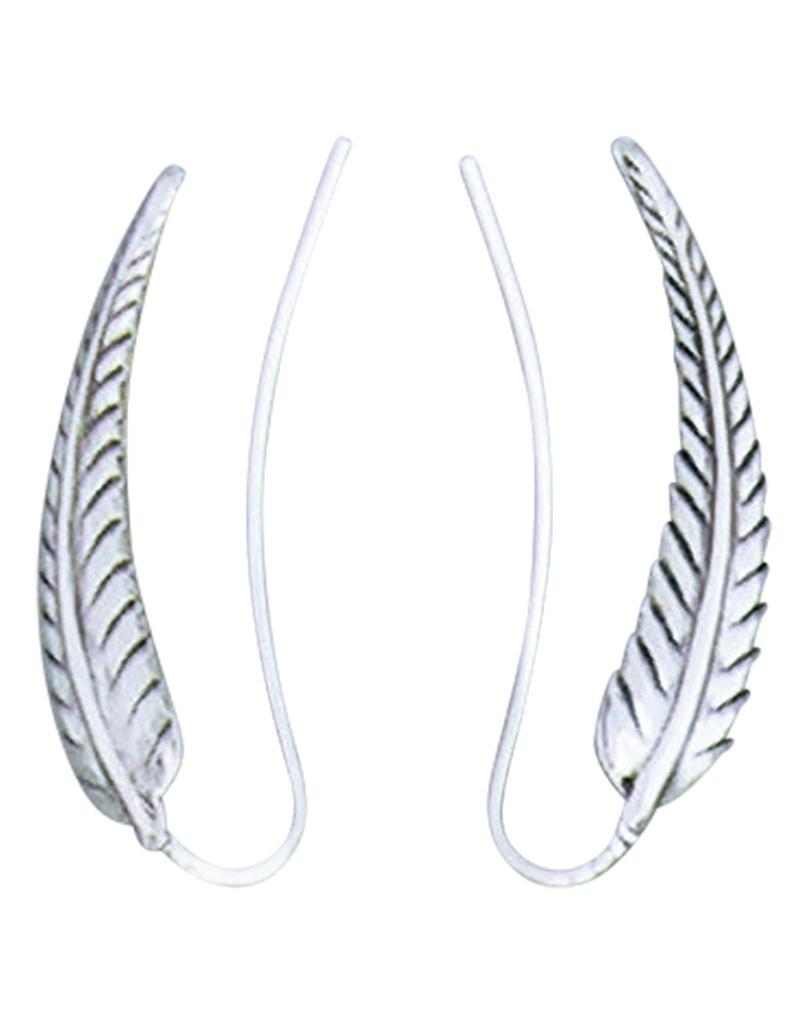 Feather Ear Climber Earrings 29mm