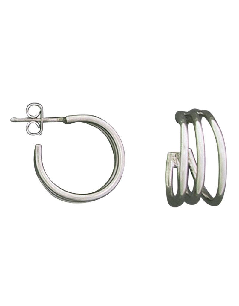 Sterling Silver 3/4 hoop 3-Bar Earrings 19mm