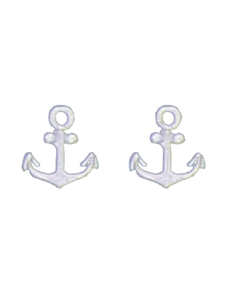 Sterling Silver Anchor Stud Earrings 10mm