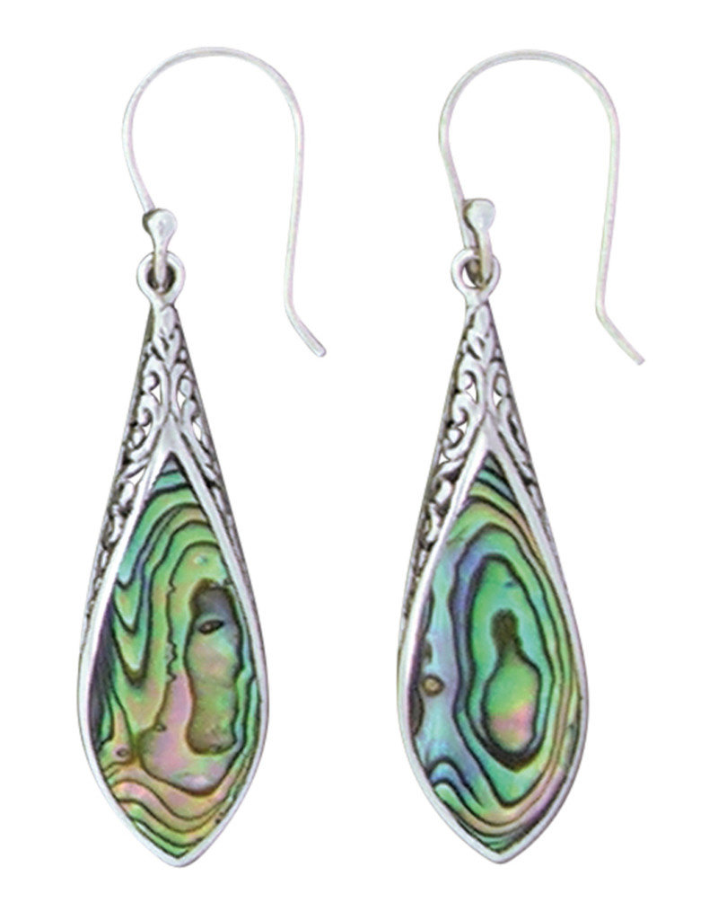 Sterling Silver Abalone Earrings 35mm