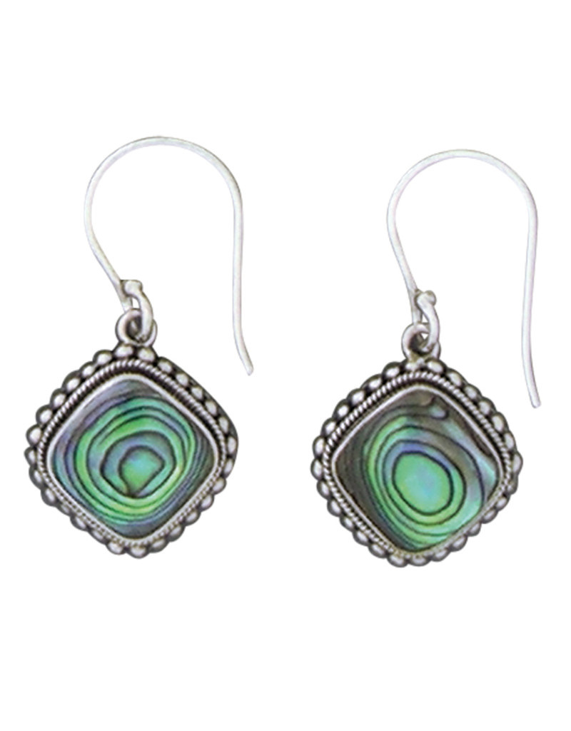 Cushion Abalone Earrings 15mm