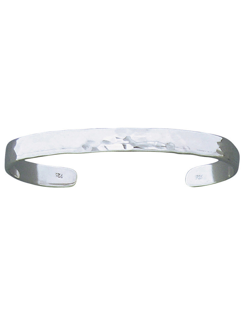Sterling Silver 6mm Wide Hammered Cuff Bracelet