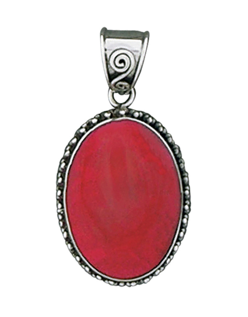 Oval Coral Pendant 24mm