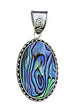 Sterling Silver Oval Abalone Pendant 24mm
