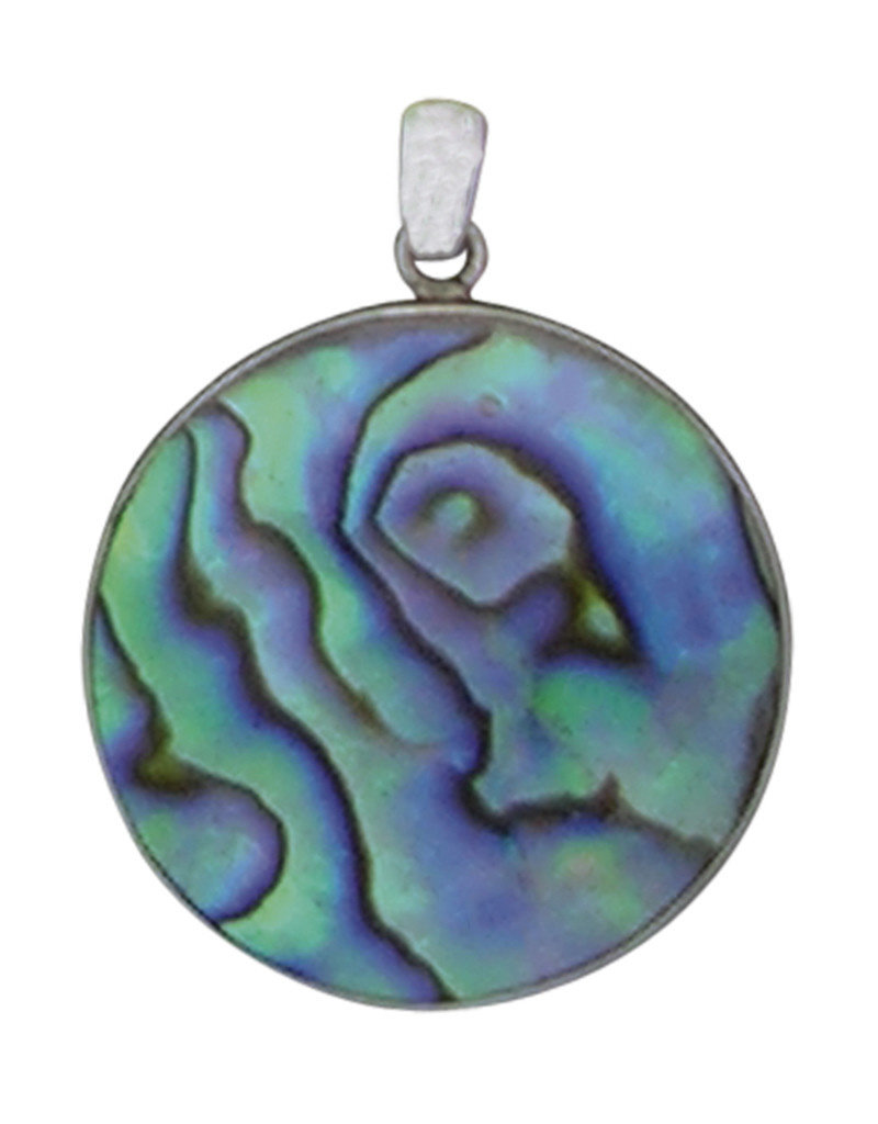 Sterling Silver Round Abalone Pendant 26mm