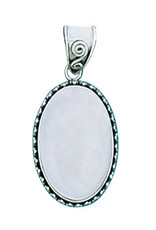 Sterling Silver Oval Mother of Pearl Pendant 24mm