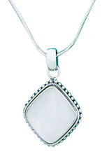 Sterling Silver Cushion Mother of Pearl Pendant 22mm